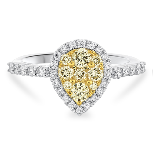 View Yellow Diamond & Diamond Cluster Ring