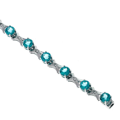 View Diamond And Blue Topaz Bracelet