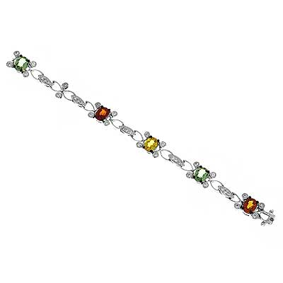 View Diamond And Multi Sapphire Bracelet