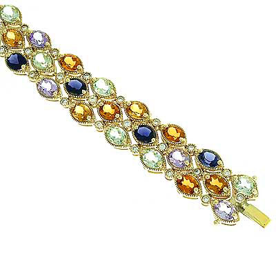 View Multi Color Semi Precious and Diamond Bracelet