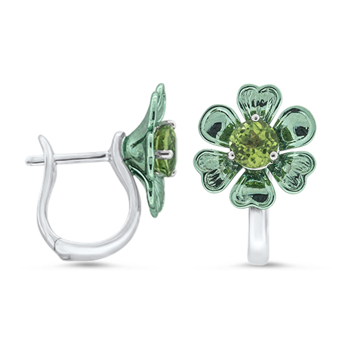 View Peridot Coated Heart Flower Earrings
