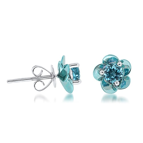 View Blue Topaz Coated Flower Earrings