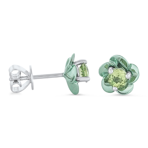 View Peridot Coated Mini Flower Earrings