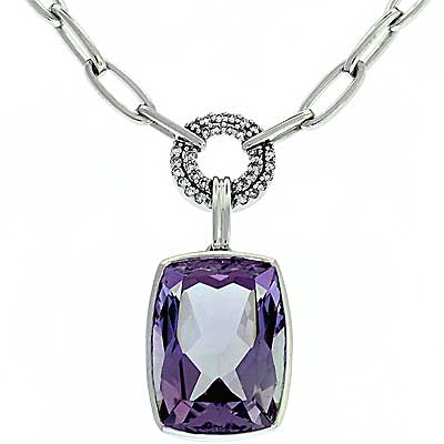 View Pink Amethyst & Diamond Necklace