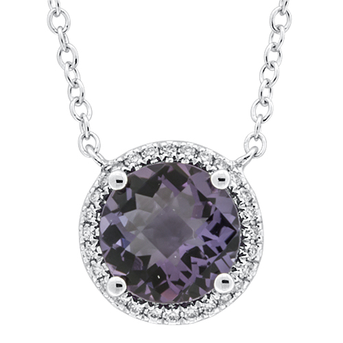 View Amethyst & Diamond Pendant With Chain