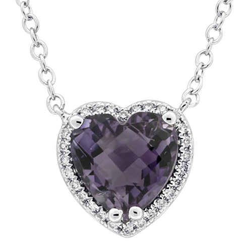View Diamond & Amethyst Heart Pendant With Chain