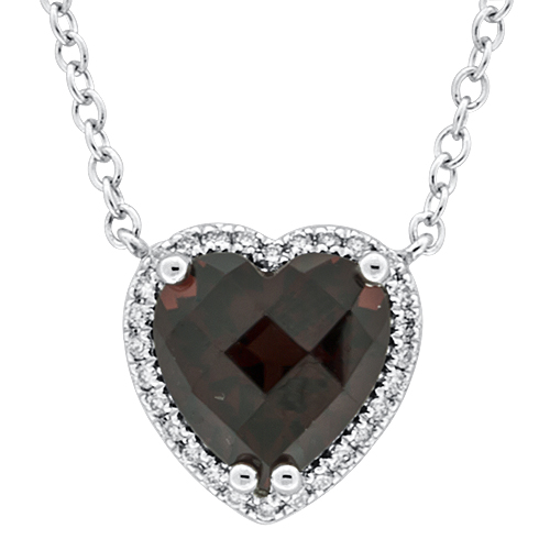 View Diamond & Garnet Heart Pendant With Chain