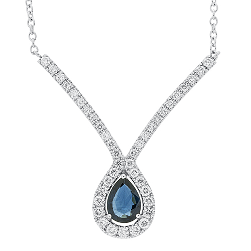 View Sapphire & Diamond Pendant With Chain