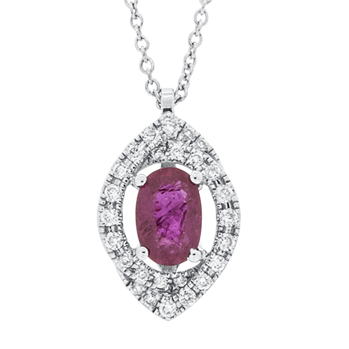 View Ruby & Diamond Oval Pendant With Chain