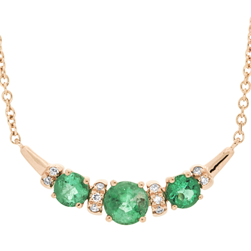 View Emerald & Diamond Pendant With Chain