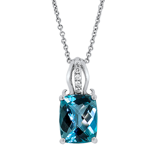 View Diamond & London Blue Pendant With Chain