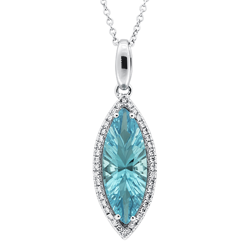 View Diamond & Marquis Swiss Blue Topaz Pendant with Chain