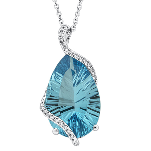View Diamond & Color Stone Pendant Pear Swiss Blue Topaz With Chain