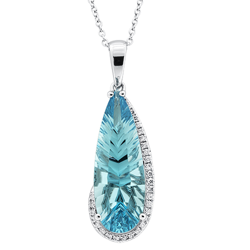 View Diamond & Pear Shape Swiss Blue Pendant With Chain