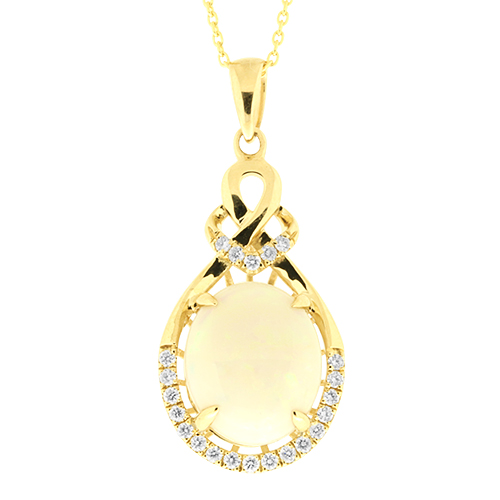 View Opal & Diamond Pendent With Chain