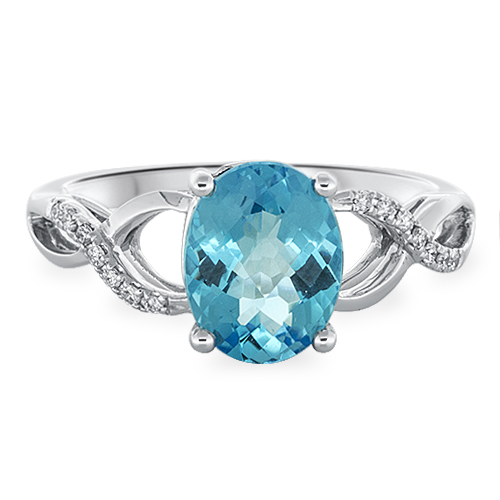 View Diamond & 9X7 Oval Blue Topaz Ring