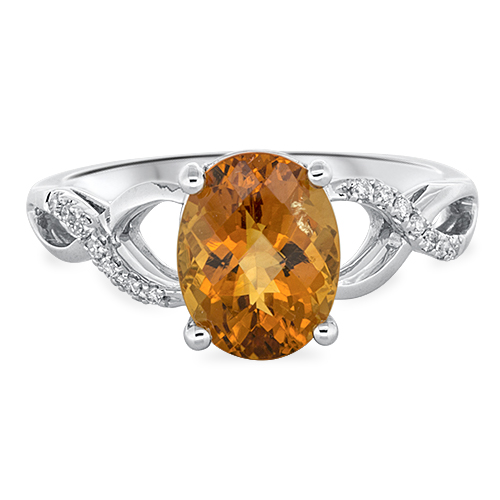 View Diamond & 9X7 Oval Citrine Ring