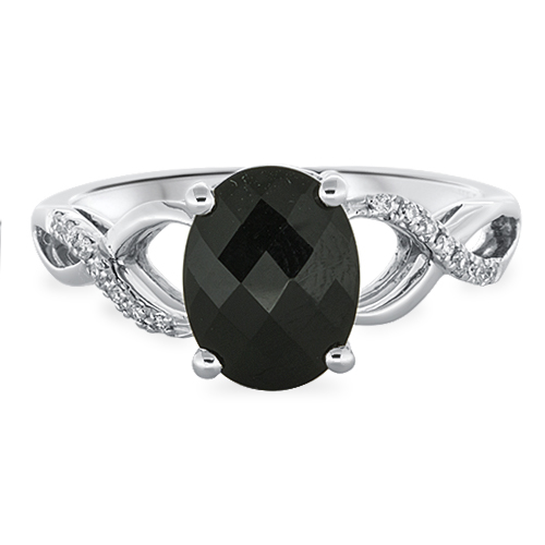 View Diamond & 9X7 Oval Onyx Ring