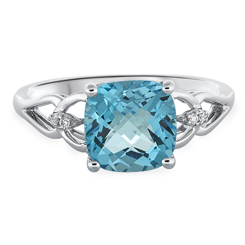 View Diamond & 8mm Cushion Blue Topaz Ring