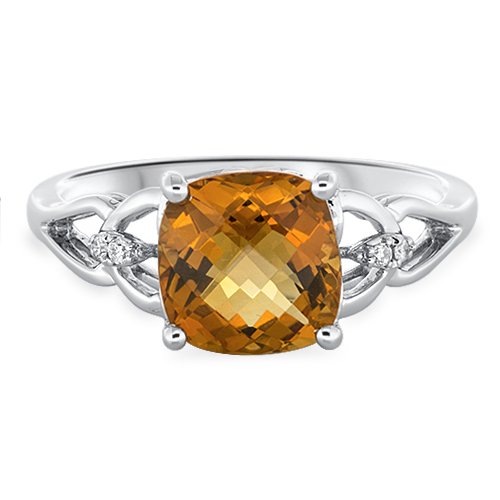 View Diamond & 8mm  Cushion Citrine Ring