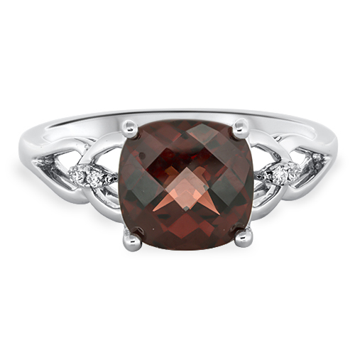 View Diamond & Cushion Garnet Ring