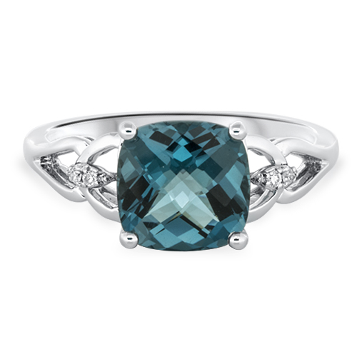 View Diamond & Cushion London Blue Topaz Ring