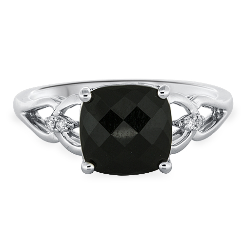 View Diamond & 8mm Cushion Onyx Ring