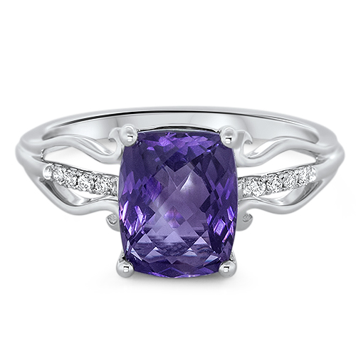 View Diamond & Amethyst Ring