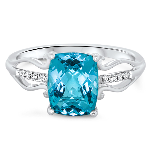 View Diamond & Blue Topaz Ring
