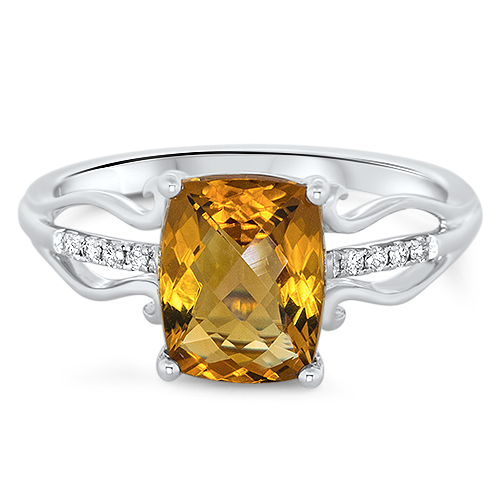 View Diamond & Citrine Ring