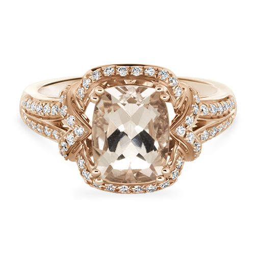 View Morganite & Diamond Fancy Ring