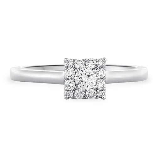View Diamond Square Cluster Ring