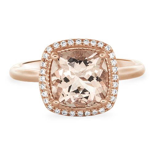 View Diamond & Cushion Cut Morganite & Diamond Halo Ring