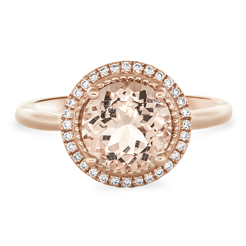 View Diamond & Round Morganite Halo Ring