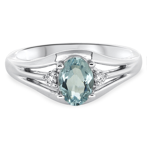 View Aquamarine & Diamond Ring