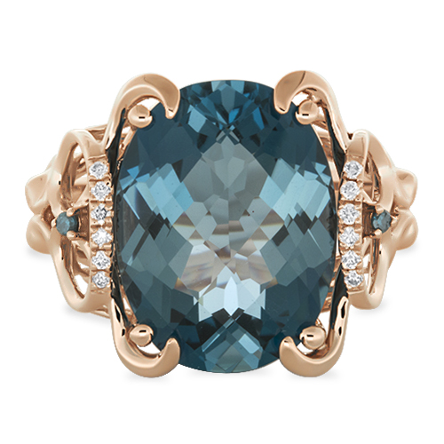 View London Blue & Diamond Ring With Blue Diamonds